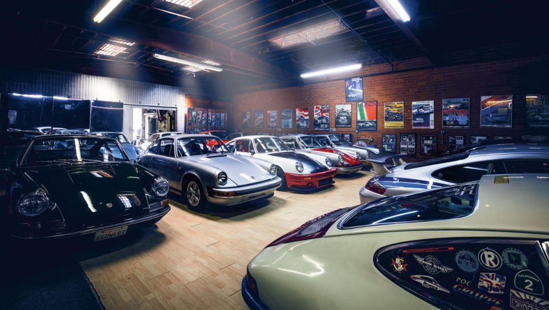 Magnus Walker's garage, 2017, Porsche AG