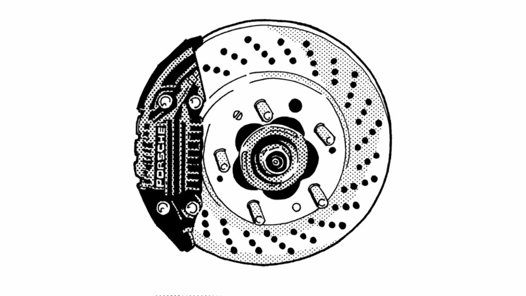 Four-piston brake caliper, 1977, Porsche AG