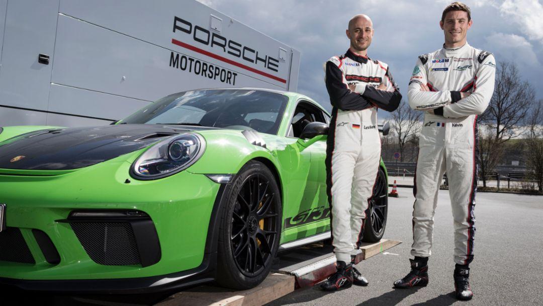 Lars Kern, Entwicklungsfahrer, Kévin Estre, Werksfahrer (l-r), 911 GT3 RS, Nürburgring-Nordschleife, 2018, Porsche AG