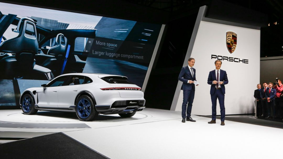 Oliver Blume, CEO at Porsche AG, Michael Mauer, Head of the Style Porsche, l-r, Mission E Cross Turismo, Geneva Motor Show, 2018, Porsche AG