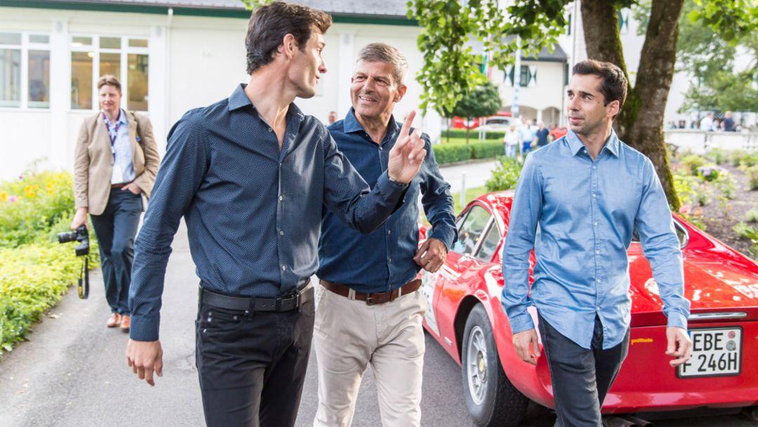 Mark Webber, works driver, Fritz Enzinger, Vice president LMP1, Neel Jani, works driver, l-r, Ennstal-Classic, 2016, Porsche AG