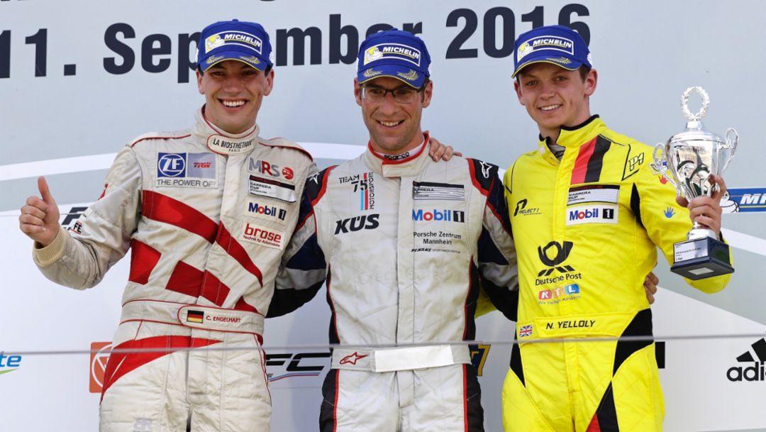 Christian Engelhart, Michael Ammermüller, Nick Yelloly, l-r, Porsche Carrera Cup Deutschland, Nürburgring, 2016, Porsche AG