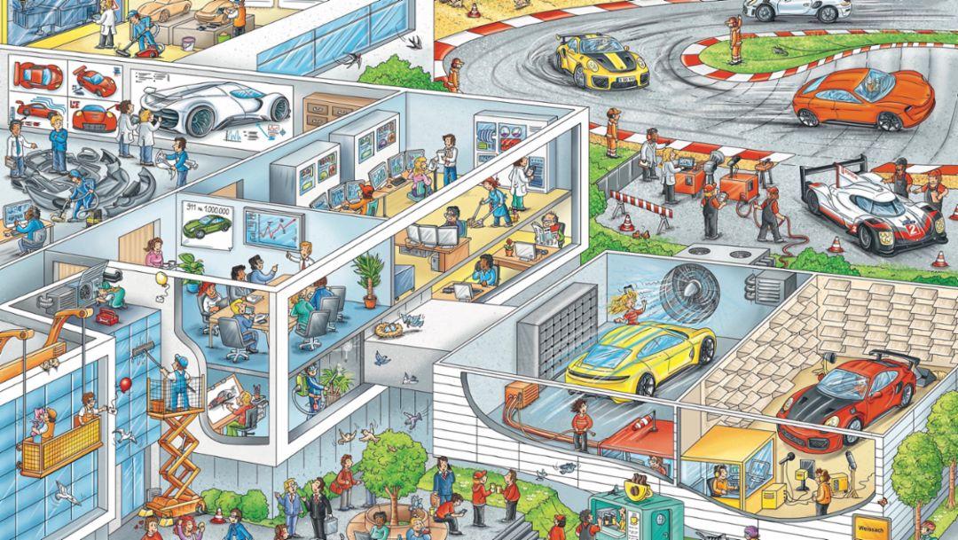 Die Porsche-Welt im Wimmelbuch erleben