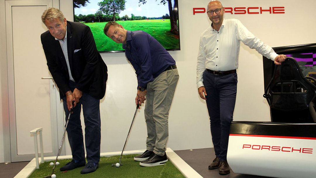 Claus M. Kobold, President DGV, Dominik Senn, CEO 4sports & Entertainment AG, Oliver Eidam, Head of Brand Partnerships & Sponsoring Porsche AG, l-r, Press conference Porsche European Open, Bad Griesbach, 2016, Porsche AG