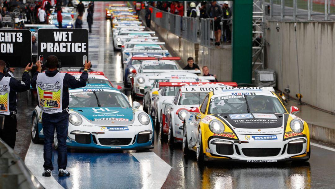Michael Ammermüller (D), Christian Engelhart (D) (l-r), 911 GT3 Cup, Porsche Mobil 1 Supercup, Spielberg 2015, Porsche AG
