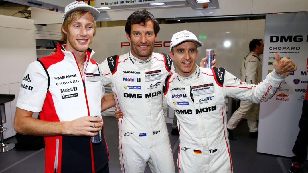 l-r Brendon Hartley, Mark Webber, Timo Bernhard, Porsche 919 Hybrid, FIA WEC Fuji/ Japan 2015, Porsche AG