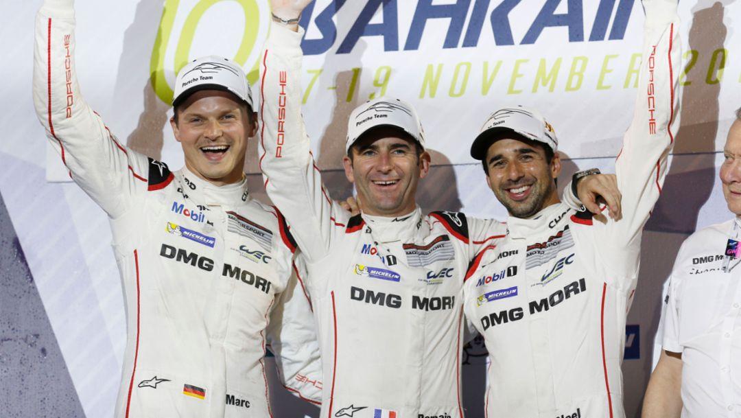 Marc Lieb, Romain Dumas, Neel Jani (l-r), WEC, Bahrain, 2016, Porsche AG