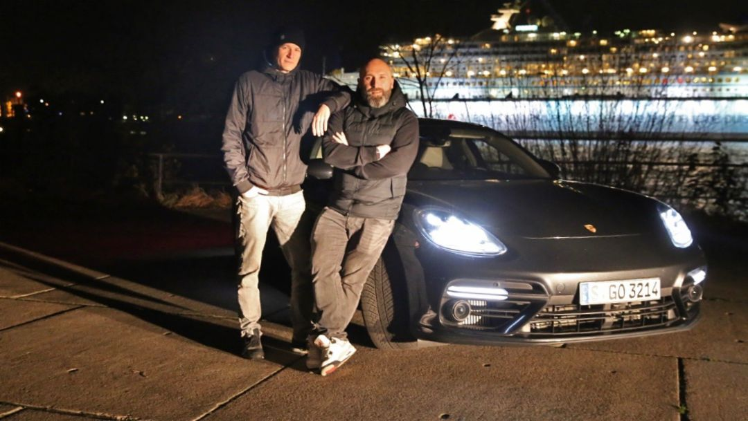 Falk Schacht, Nico Hüls, l-r, Porsche Panamera Turbo, Hamburg, 2018, Porsche AG
