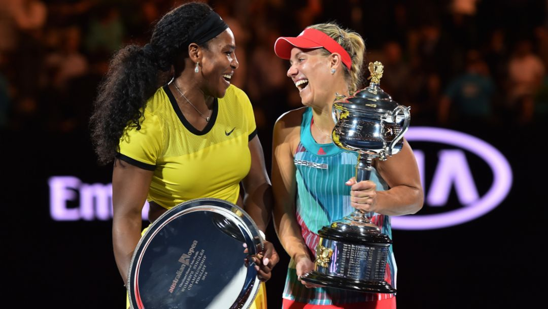 l-r Serena Williams, Angelique Kerber, Australian Open, 2016, Porsche AG