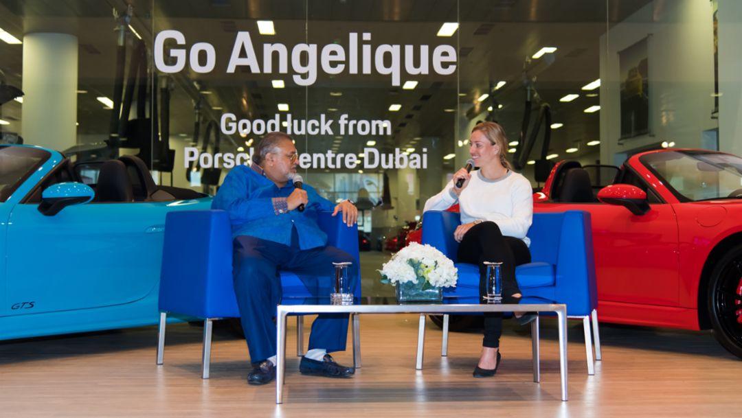 Angelique Kerber, K. Rajaram, CEO of Al Nabooda Automobiles, l-r, 718 Boxster GTS, Porsche Centre Dubai, 2019, Porsche AG