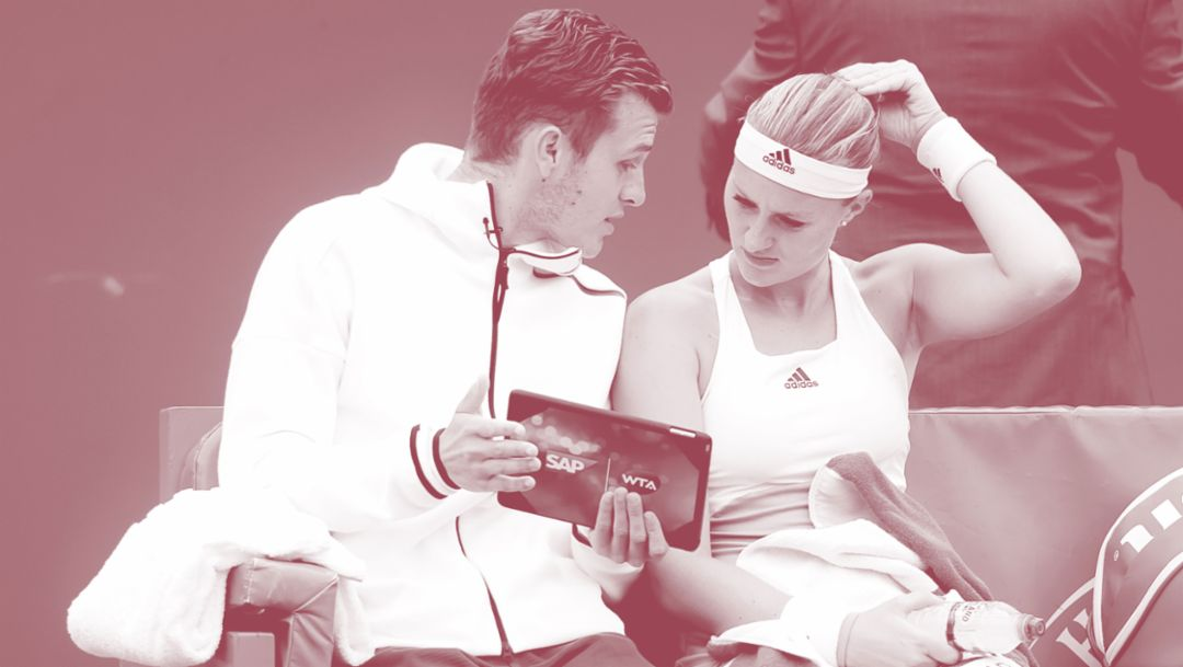 Dzenita Mladenovic, coach, Kristina Mladenovic, tennis player, l-r, 2018, Porche AG