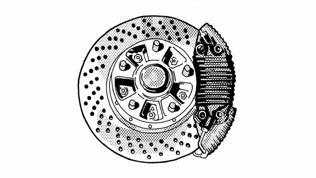 Cross-drilled brake disc, 1974, Porsche AG
