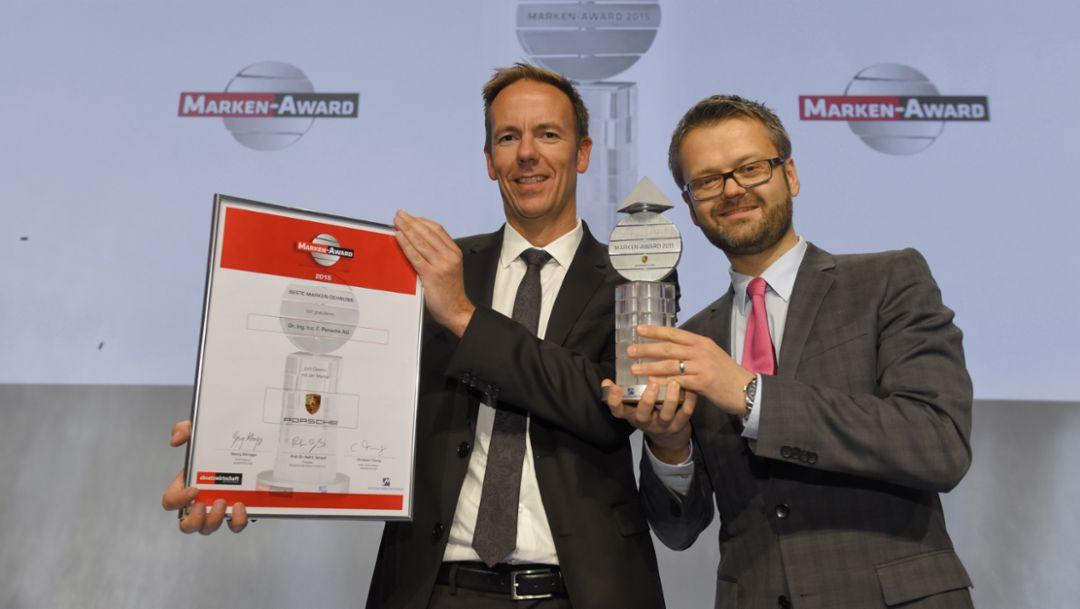 Robert Ader, Director Marketing Communications, and Marek Grzebin, Manager Communications Strategy & Transfer (l-r), Marken-Award, 2015, Porsche AG