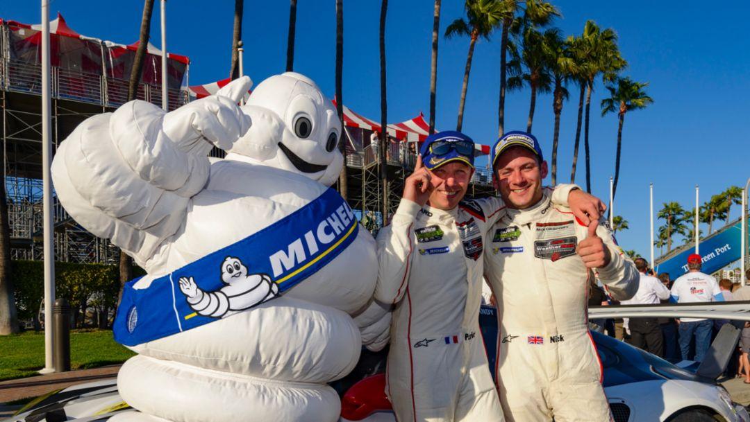 Patrick Pilet, Nick Tandy, l-r, Long Beach, IMSA WeatherTech SportsCar Championship, 2016, Porsche AG