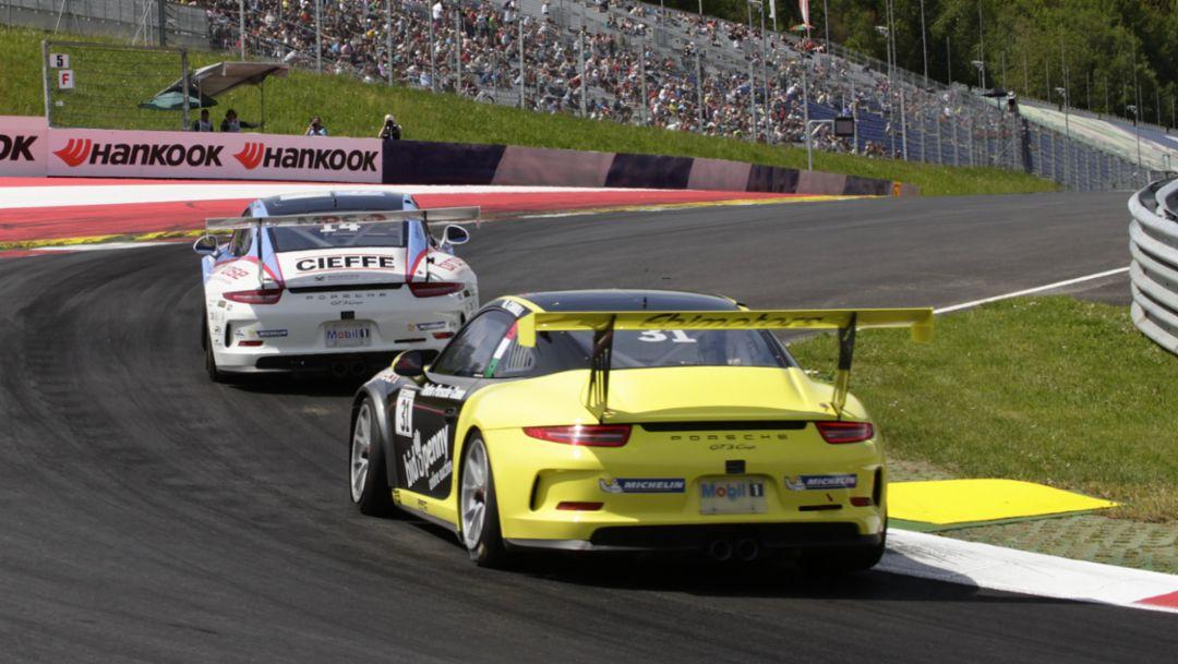 Christian Engelhart, Matteo Cairoli, Porsche Carrera Cup Deutschland, Spielberg, 2016, Porsche AG