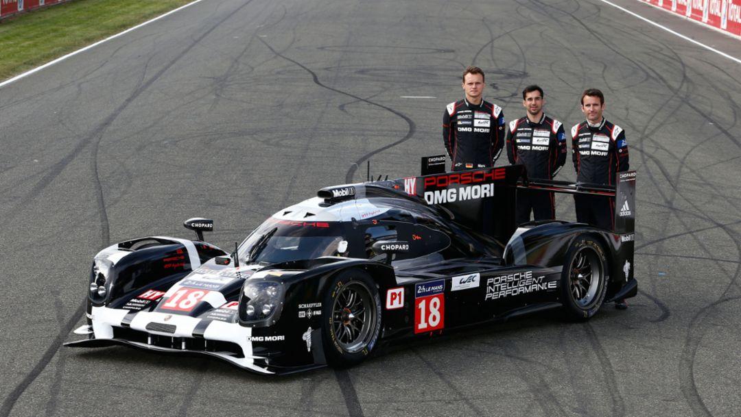 Marc Lieb, Neel Jani, Romain Dumas (l-r), Porsche 919 Hybrid (18), Le Mans 2015, Porsche AG