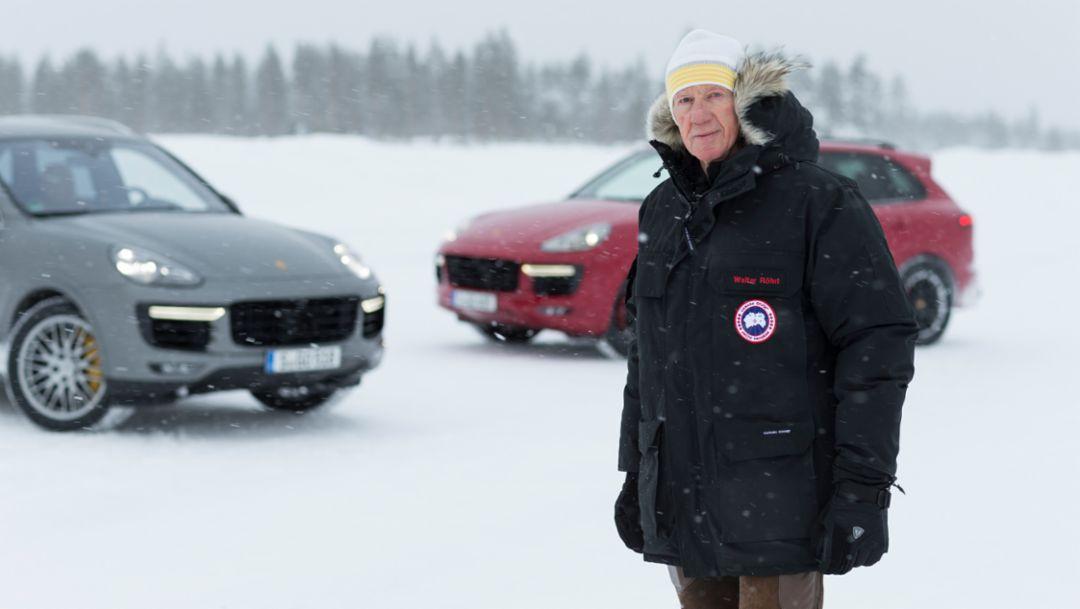 Walter Röhrl, Cayenne GTS, Cayenne Turbo S, Skelleftea, Schweden, 2015, Porsche AG