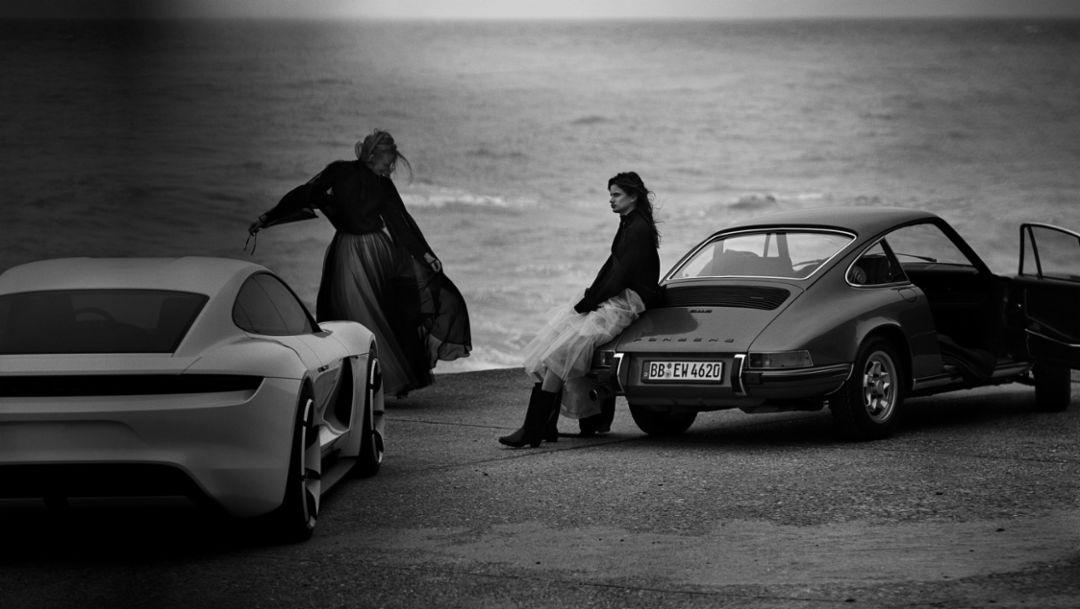 Mission E, 911, shoot with phographer to the stars Peter Lindbergh, Porsche Talent Project, Ault, France, 2018, Porsche AG