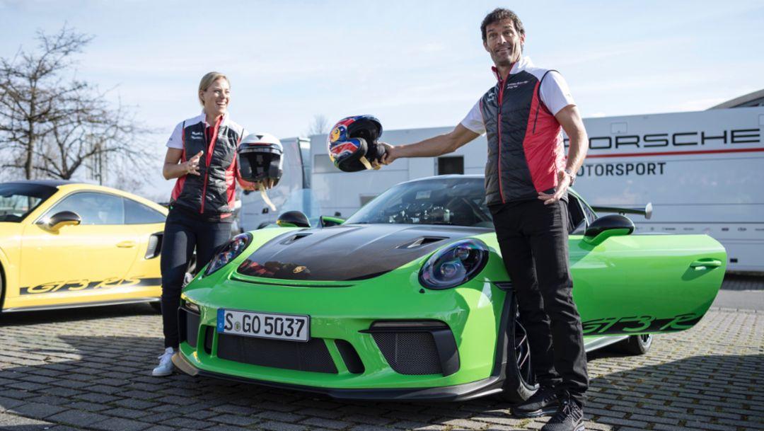 Angelique Kerber, Mark Webber, l-r, 911 GT3 RS, Nürburgring, 2018, Porsche AG