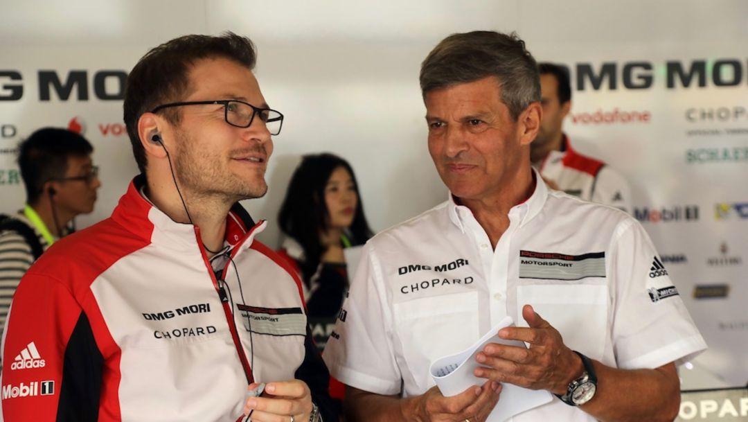 Andreas Seidl, Teamchef Porsche LMP Team, Fritz Enzinger, Vice President LMP1, l-r, WEC, Bahrain, 2017, Porsche AG