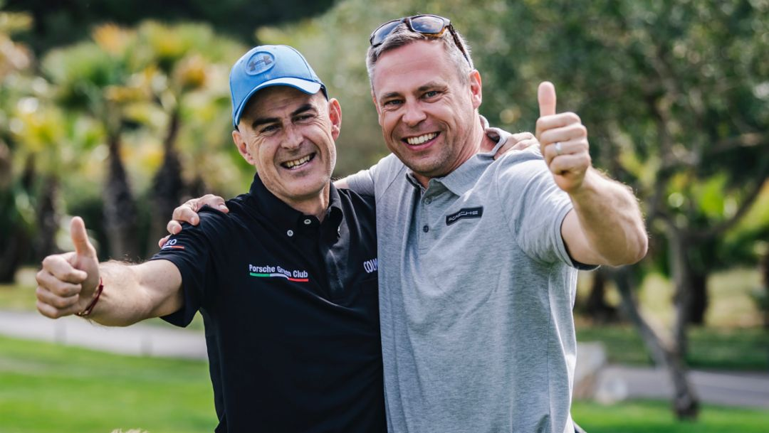Marco Leoni, Eberhard Schneider, Head of Global Events and Services at Porsche AG, l-r, Porsche Golf Cup, Mallorca, 2019, Porsche AG