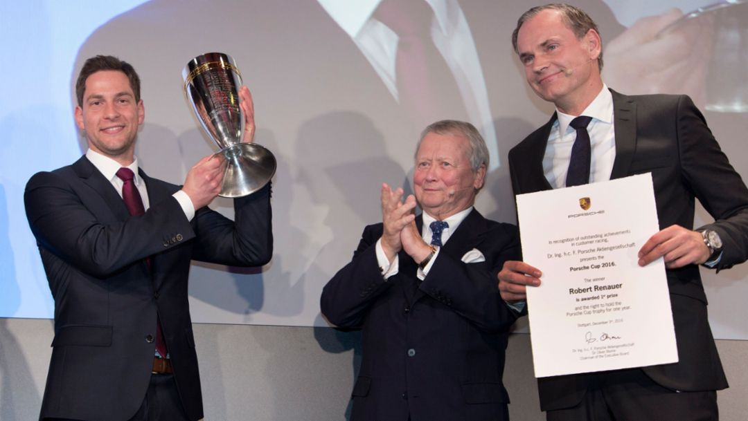 Robert Renauer, Porsche Cup 2017 Winner, Dr Wolfgang Porsche, Chairman of the Supervisory Board, Oliver Blume, Chairman of the Executive Board, l-r, 2016, Porsche AG