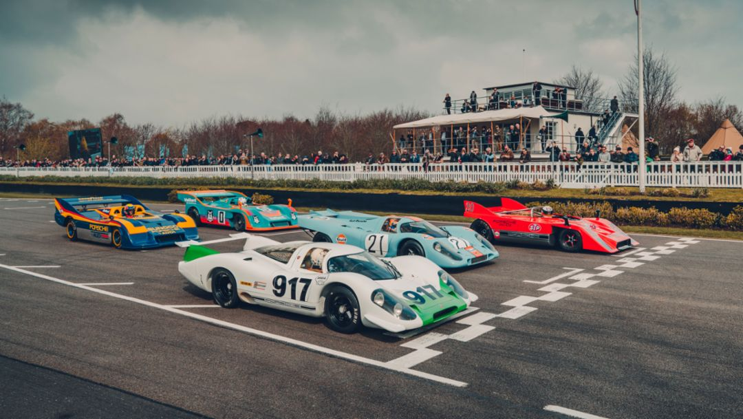 917-001 (1969), 917 KH (1971, Gulf), 917/10 (1971, red), 917/30 Spyder (1973, Sunoco), 917/30-001 (1972, Vaillant), 77th Goodwood Members Meeting, Great Britain, 2019, Porsche AG