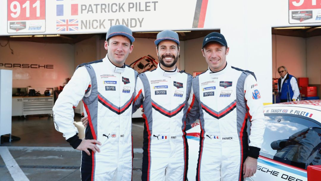 Nick Tandy, Frederic Makowiecki, Patrick Pilet, l-r, IMSA, Daytona, 2019, Porsche AG