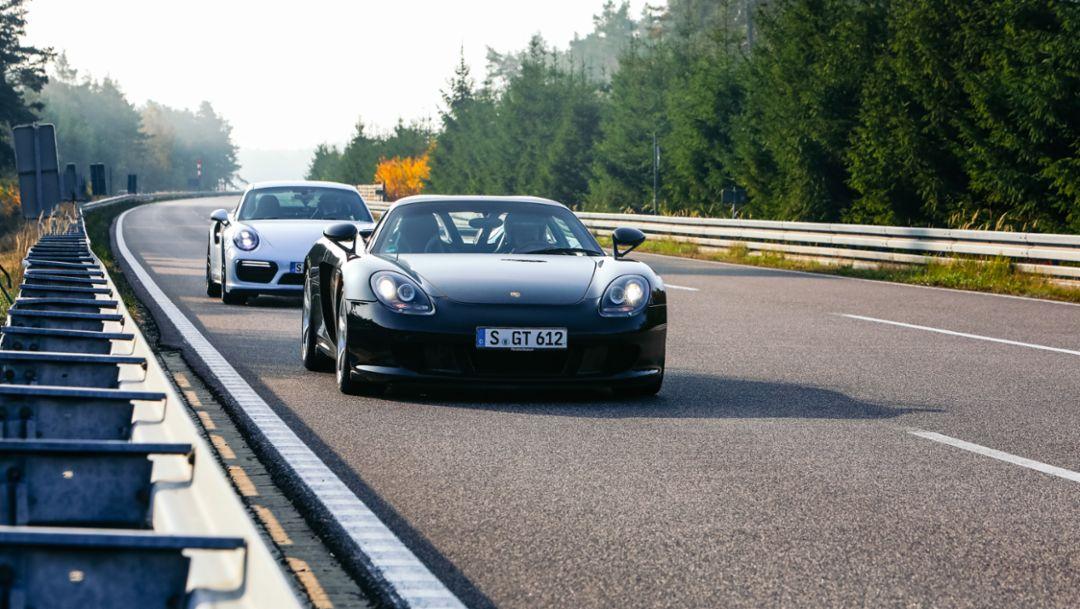 911 Turbo S, Carrera GT, l-r, 2018, Porsche AG