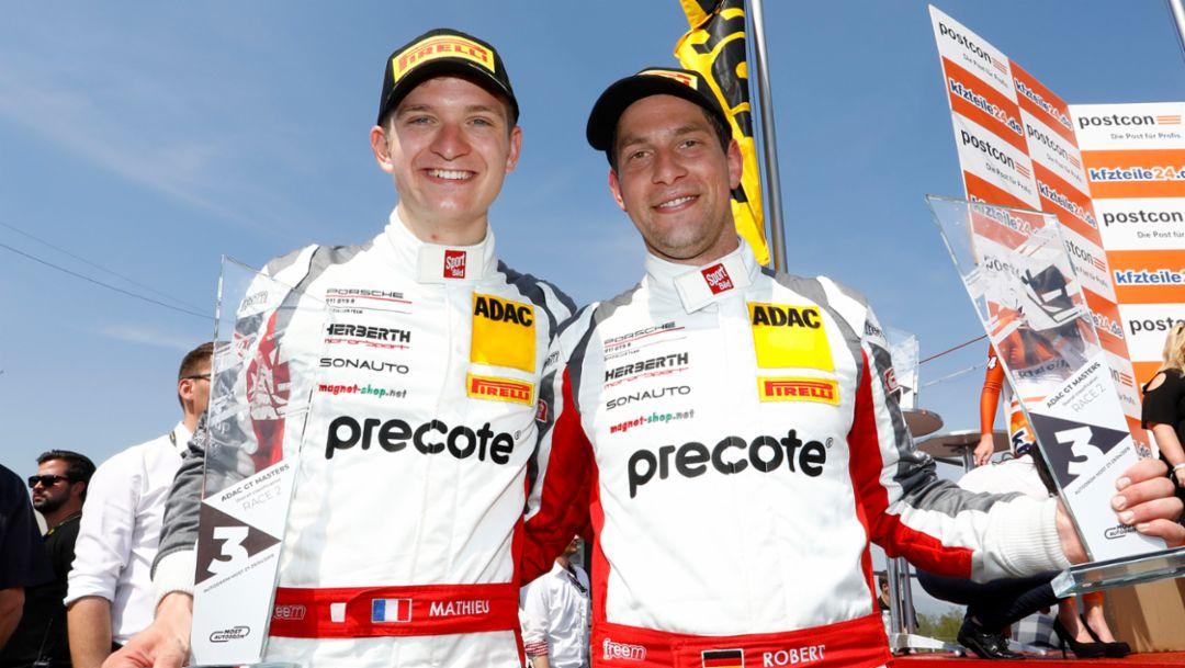 Mathieu Jaminet, Robert Renauer, l-r, Precote Herberth Motorsport, ADAC GT Masters, Most, 2018, Porsche AG