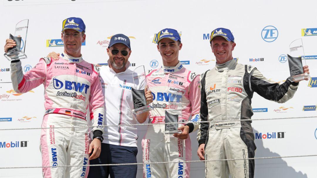 Michael Ammermüller, Walter Lechner jr., Thomas Preining, Jaap von Lagen, l-r, Porsche Carrera Cup Deutschland, Rennen 6, Nürburgring, 2018, Porsche AG