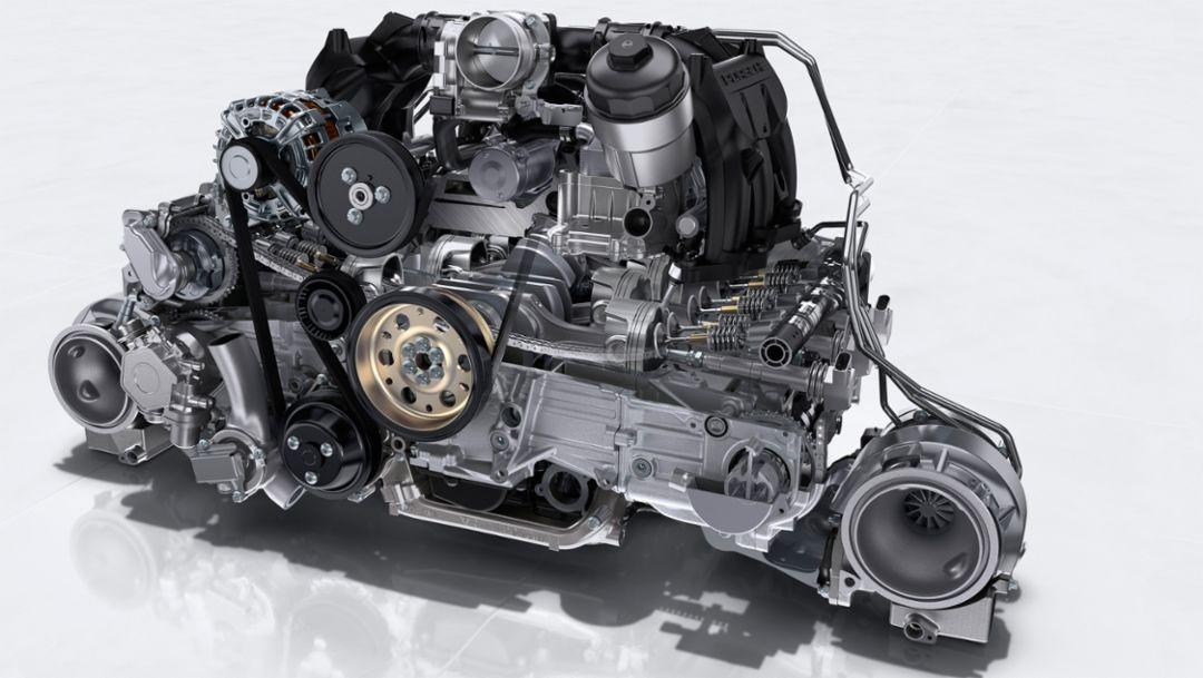 911 GT2 RS: 3.8-litre six-cylinder twin-turbo boxer engine, 2017, Porsche AG