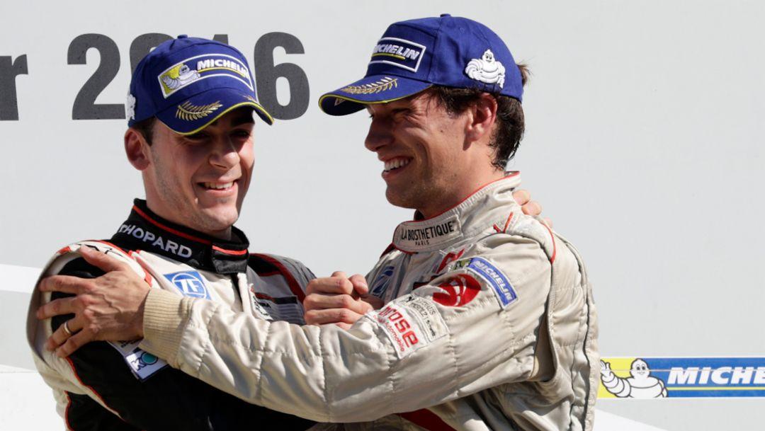 Sven Müller (D), Christian Engelhart (D), l-r, Porsche Carrera Cup Deutschland, Hockenheimring, 2016, Porsche AG