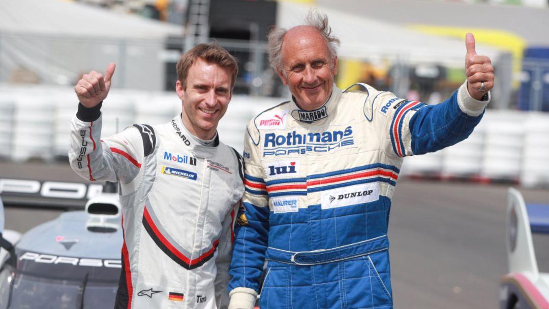 Timo Bernhard, Hans-Joachim Stuck, l-r, Nürburgring Nordschleife, 2018, Porsche AG