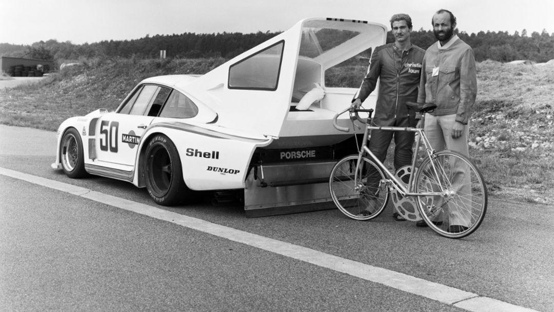Jean-Claude Rude, Henri Pescarolo, l-r, Porsche 935 Turbo Martini, Ehra-Lessien, 1978, Porsche AG
