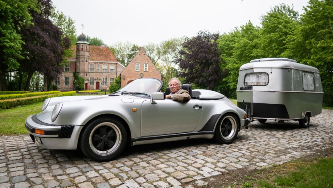 Hitched up: Porsche 911 Speedster with caravan