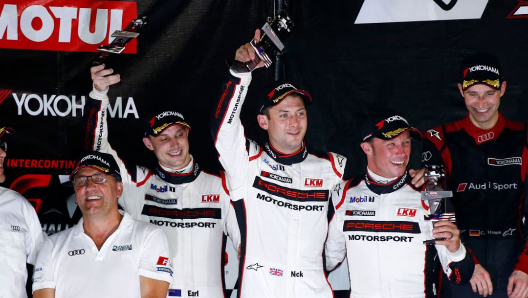 Earl Bamber, Nick Tandy, Patrick Pilet (l-r), Porsche works driver, Intercontinental GT Challenge, Sepang, 2016, Porsche AG
