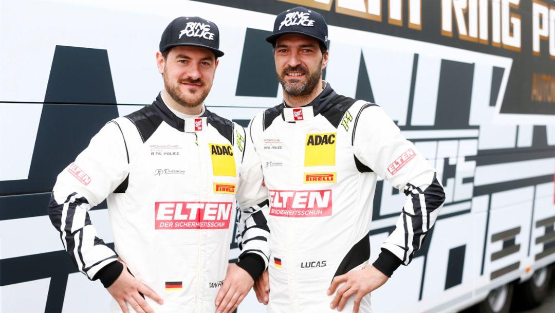 Jan-Erik Slooten, Lucas Luhr, l-r, IronForce by Ring Police, ADAC GT Masters, 2018, Porsche AG