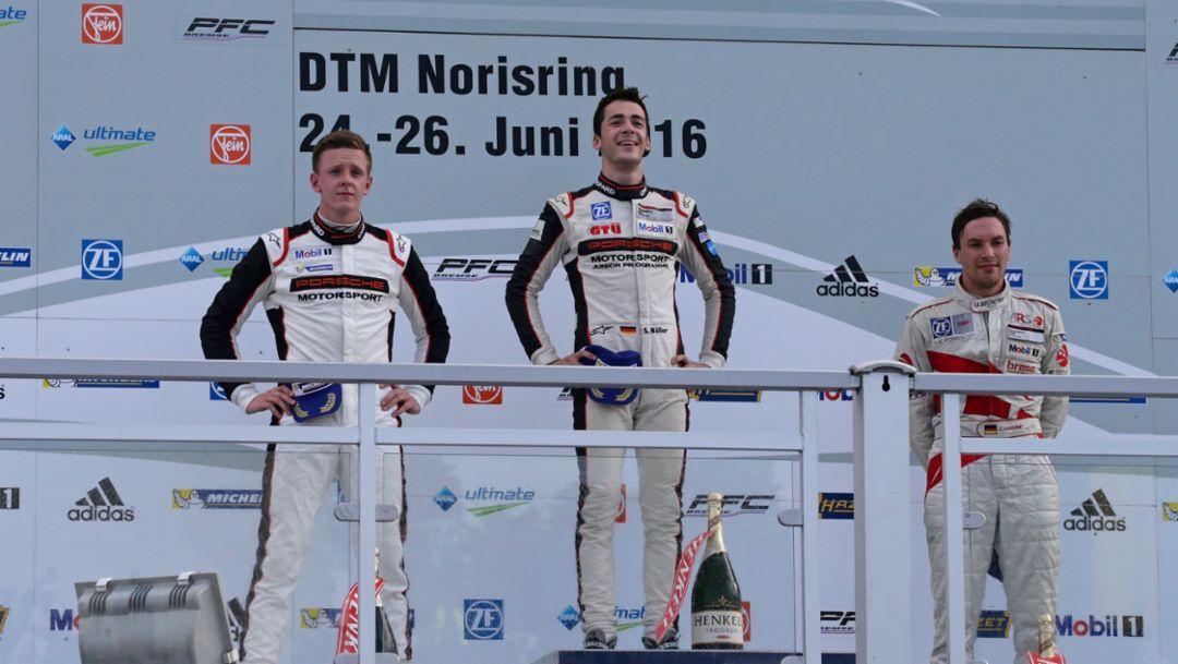 Dennis Olsen, second place, Sven Müller, first place, Christian Engelhart, third place, l-r, Porsche Carrera Cup Deutschland, Race 9, Norisring, 2016, Porsche AG