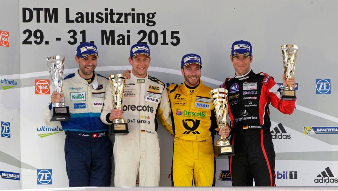 Rolf Ineichen (CH),  Robert Renauer (D), Philipp Eng (A), Michael Ammermüller (D), Porsche Carrera Cup Deutschland, Lausitzring 2015, Porsche AG