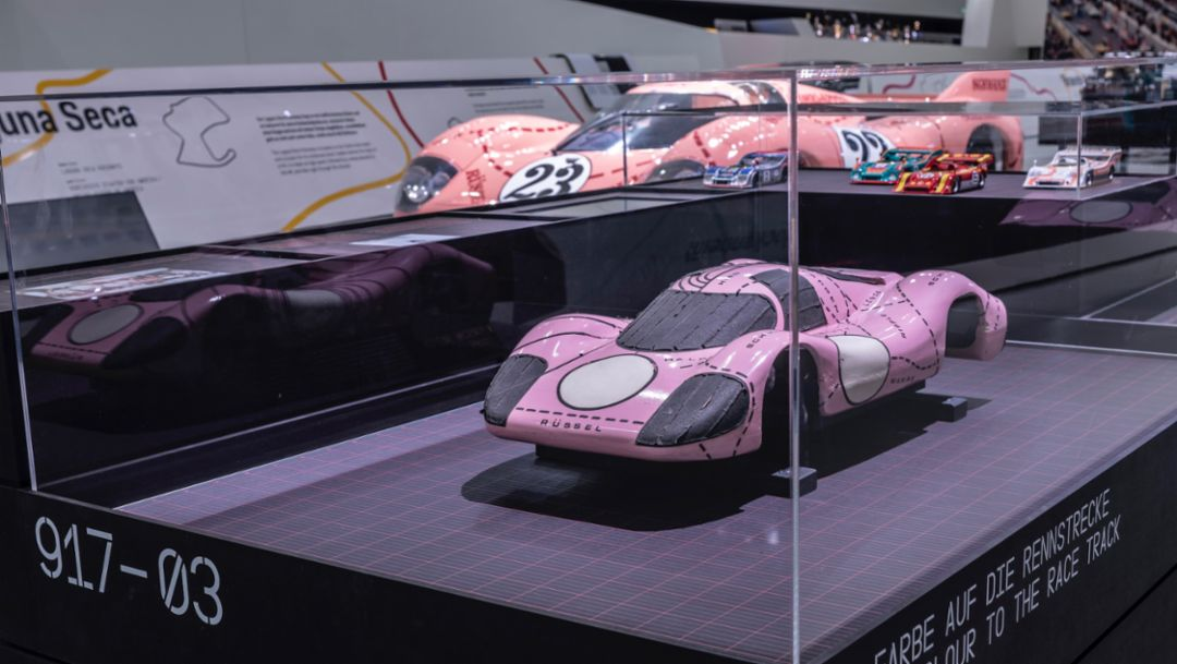 Studio model 917/20, special exhibition 50 Years of the Porsche 917 – Colours of Speed, Porsche Museum, 2019, Porsche AG