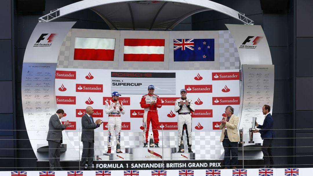 Kuba Giermaziak, Clemens Schmid, Earl Bamber, Werksfahrer, l.-r., Porsche Mobil 1 Supercup, Silverstone, 2014, Porsche AG