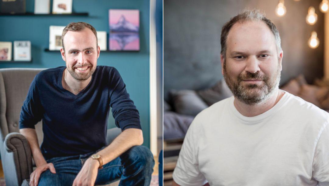 Henric Hungerhoff, Jörg Rheinboldt, l-r, APX Geschäftsführer, 2018, Porsche AG