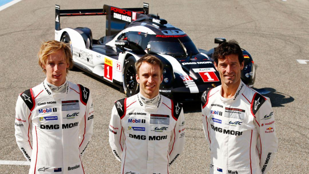 Brendon Hartley, Timo Bernhard, Mark Webber, l-r, 919 Hybrid, Paul Ricard, WEC, 2016, Porsche AG