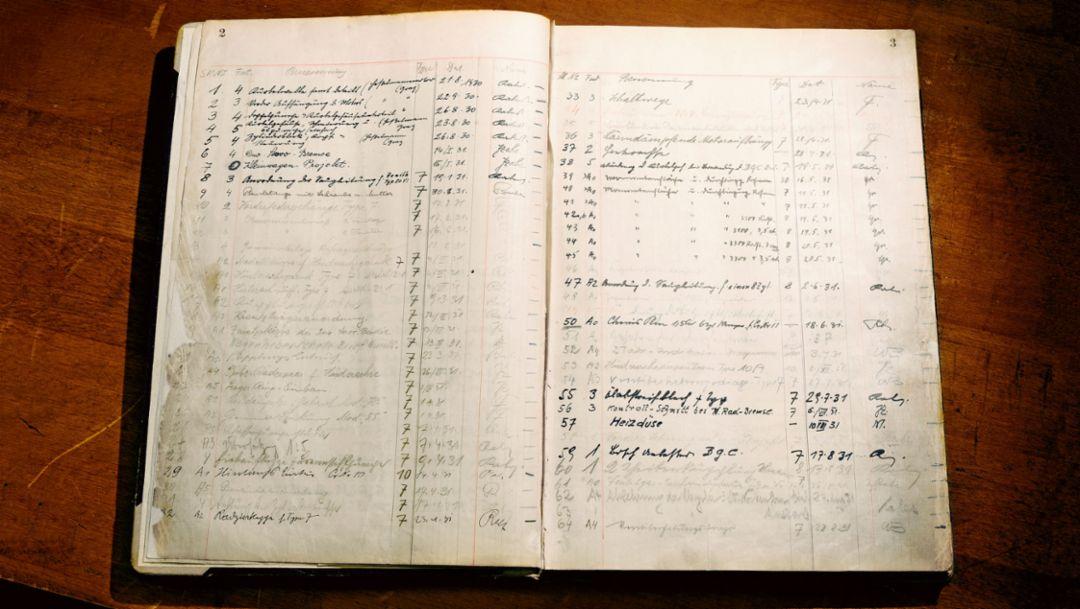 The first order book of 1930, Porsche Museum, 2016, Porsche AG