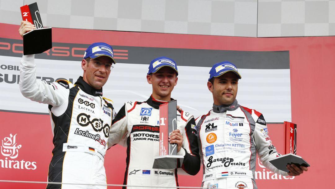 Michael Ammermüller, Matt Campbell, Dylan Pereira (l-r), Porsche Mobil 1 Supercup, Spielberg, Österreich, 2017, Porsche AG