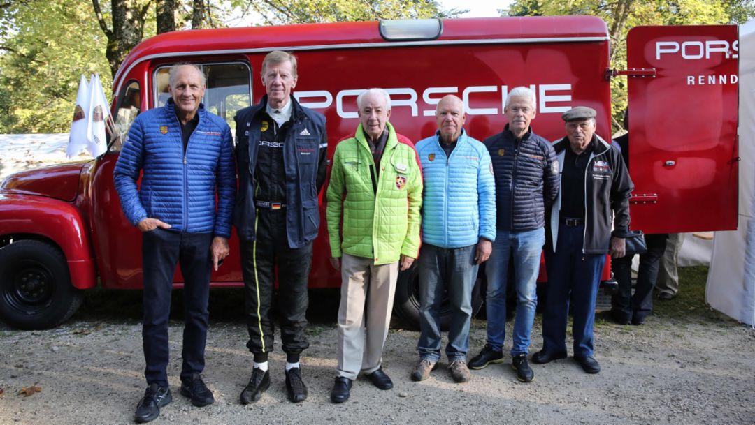 (l-r) Hans-Joachim Stuck, Walter Röhrl, Eberhard Mahle, Rudi Lins, Bernd Ostmann, Herbert Linge, Rossfeldrennen, Berchtesgaden 2016, Porsche AG