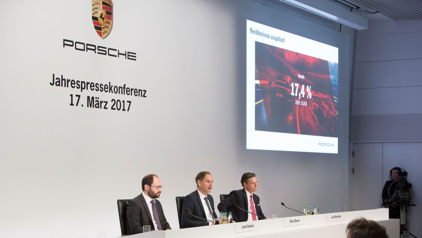 Josef Arweck, Vice President Communications, Oliver Blume, Chairman of the Executive Board, Lutz Meschke, Deputy Chairman of the Executive Board and Member of the Executive Board for Finance and IT, l-r, annual press conference, Stuttgart, 2017, Porsche AG