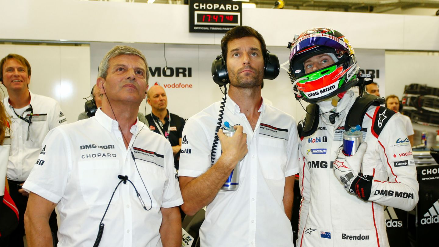 Fritz Enzinger, Head of LMP1, Mark Webber, Brendon Hartley, l-r, qualifying, WEC, Bahrain, 2016, Porsche AG