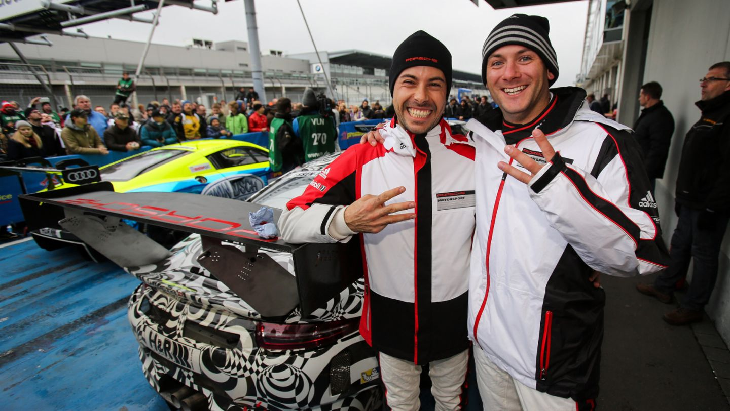 911 GT3 R, Frederic Makowiecki, Nick Tandy (l.-r.), works driver, 2015, Porsche AG